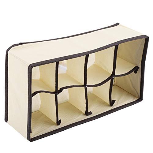 Omabeta Caja de Almacenamiento de Ropa Interior Caja de Almacenamiento portátil Armario con cajones para Calcetines(Beige 8 Grid)
