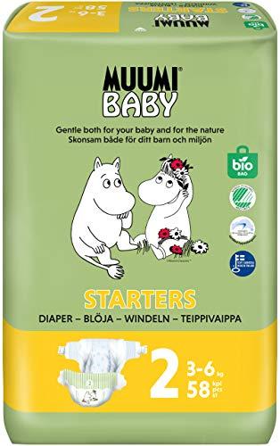 Pañales ecológicos Muumi Baby para recién nacidos, talla 2, 3-6 KG, 58 pañales sensibilidad premium