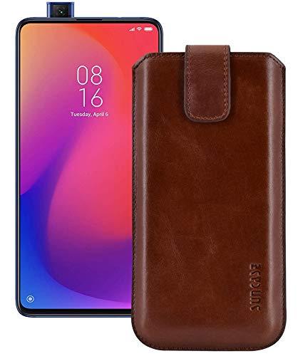 Suncase ECHT Ledertasche Leder Etui *Slim-Edition* kompatibel mit Xiaomi Mi 9T Pro (mit Rückzugsfunktion & Magnetverschluss) Rustik-Mocca braun
