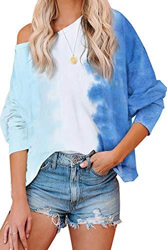 Mosucoirl Mujeres Tie Dye Tops Sudadera Moda Cuello Redondo Casual Manga Larga Top Camisetas Acogedor pulóver de Gran tamaño Blusa Suelta (Azul Degradado, S)
