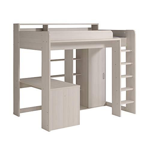 Higher Parisot 1A - Hochbett mit integr. Schreibtisch & Kleiderschrank 90 x 200 cm