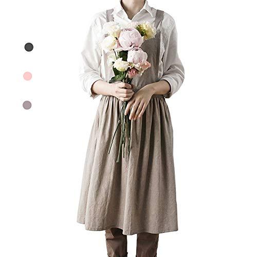 Delantal de algodón y lino para mujer, delantal japonés coreano, albaricoque