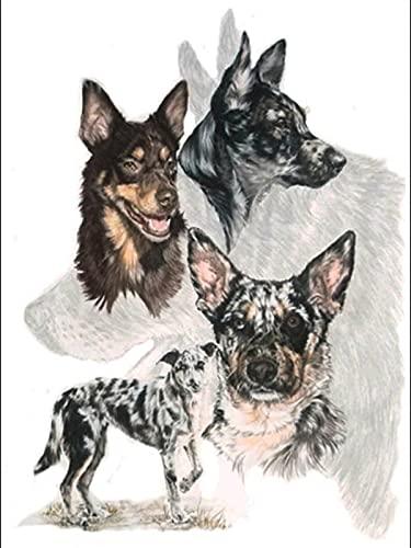 5D Dog Cross Stitch Kit Animal Diamond Mosaic Full Layout Rhinestone Picture Home Decoration Diamond Painting A7 30x40cm