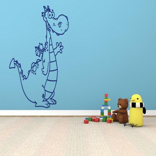 XL Wandtattoo fürs Kinderzimmer 68033-58x100 cm, schwarz ~ lustiger Drache Dino für Kinder ~ Wandaufkleber Wandtatoos Sticker Aufkleber für die Wand, Fensterbild, Tapetensticker, Türaufkleber, Wandsticker aus Markenfolie in 32 Farben wählbar