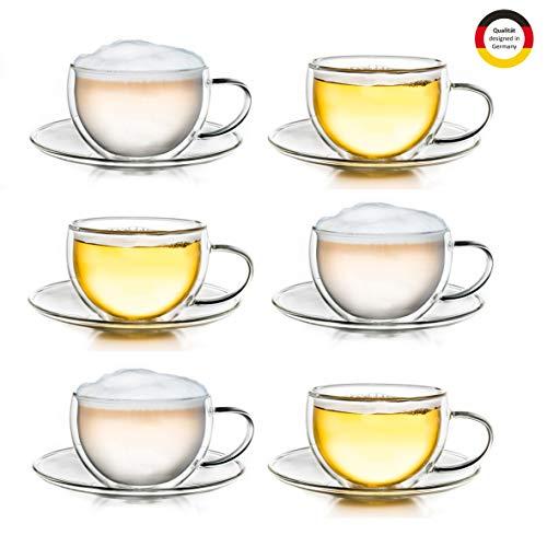 Creano Thermo-Tasse doppelwandige Tee-/Latte Macchiato Cappuccino Tasse mit Untersetzer 250ml, 6er Set