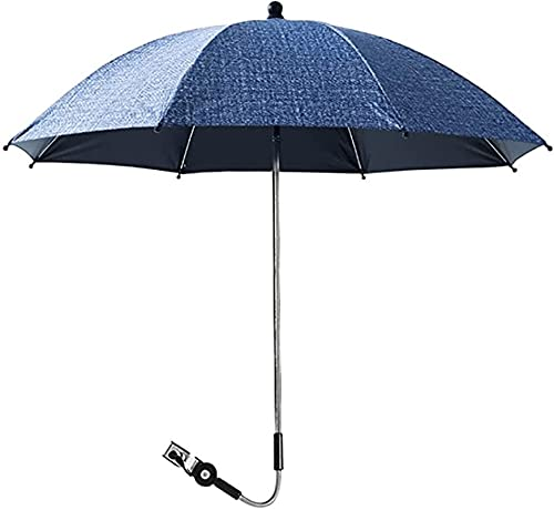 LIUPING Sombrilla para Cochecito - Paraguas con Protección UV Sombrilla para Silla De Paseo Ajustable Sombrilla para Cochecito Universal Sombrilla para Cochecito (Color : Dark Blue, Size : 75cm)