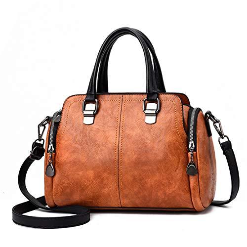 Bolsos de Las Mujeres, Popoti Bolsos de Hombro de Cuero Bolso de Mensajero Messenger Crossbody Bag, Bolsillos de Compras Elegantes de la Señora (Marrón-1)
