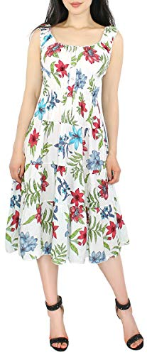 dy_mode Damen Sommerkleid Blumen Print Strand Kleider Knielang Tailliert Strandkleid - KL105 (KL105-Weiß, 40/42 - L/XL)