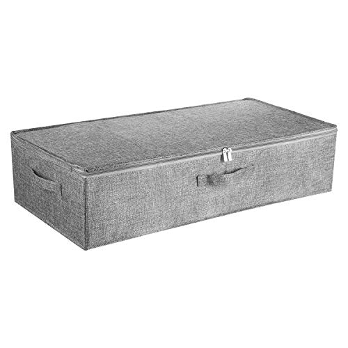 Under Bed Storage Bag, Large Capacity Underbed Storage Organizer Box with Lid, Foldable Blankets, Cloth Storage Bins. (Grey)