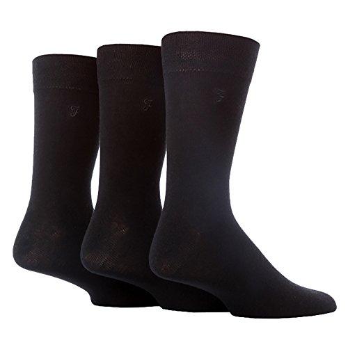 FARAH® - 3 Paar Herren Farbig Bunt Muster Luxus Atmungsaktive Gestreift Herrensocken Baumwolle Reich Formale Casual Socken (39-45 EU, CS34BLK (Plain))