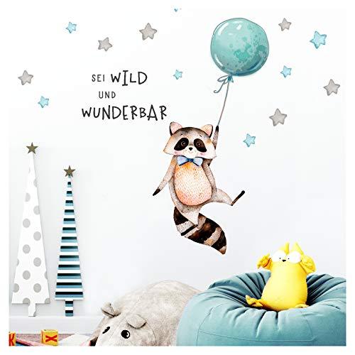 Little Deco Sticker Spruch sei wild & Waschbär I Wandbild 120 x 56 cm (BxH) I Luftballon Wandbilder Wandtattoo Kinderzimmer Junge Tiere Deko Babyzimmer Kinder DL315