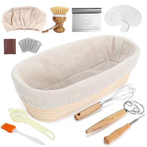 Banneton à Pain, Gifort 11 pièces Banneton Ovale Ensemble de paniers de fermentation , fait de rotin naturel, avec accessoires de cuisson, pour la cuisson de la pâte à pain