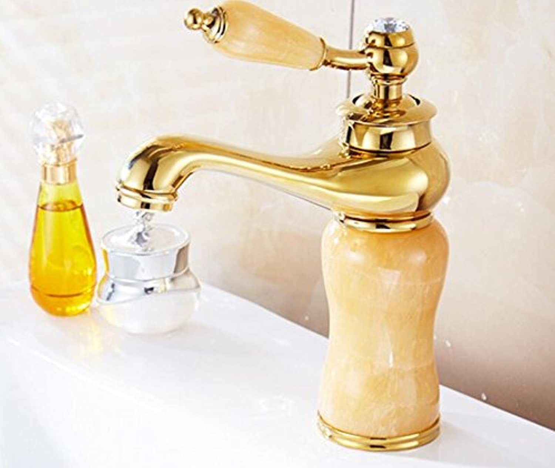 Makej Jade Body Bathroom Basin Faucet Brass Mixer Tap golden Faucets Bathroom Faucet Single Handle Basin Faucet gold