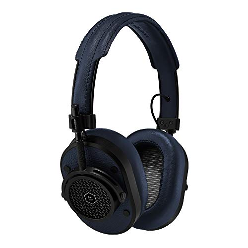 MASTER & DYNAMIC MH40 Over-Ear Headphones with Wire - Noise Isolating with Mic Recording Studio Headphones with Superior Sound, Black Metal/Navy Leather (MH40B4)