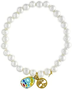 Córdoba Jewels   Pulsera Ajustable de Perlas de Cristal con diseño de Plata de Ley 925 bañado en Oro. Charms Árbol de la Vida 10mm y Murano de17x10 mm.