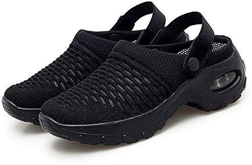 DIZHIGE Orthopedic Walking Sandals, Women's Breathable Casual air Cushion Slip-on Shoes, Mesh Slip On Air Cushion Garden Shoes, Wedge Sandals with Concealed Orthotic Arch Support Black 38