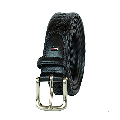 Tommy Hilfiger Leather Braided Belt - Casual for Mens Jeans with Solid Strap Single Prong Buckle, Black, 38 Black Leather Woven Belt