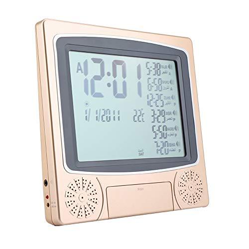 Islamitische Azan wekker automatische moslim moskee digitaal gebed tijdtafel klok herinnering alarm met LCD-display voor thuis, Masjid, Ramadan gift (goud)