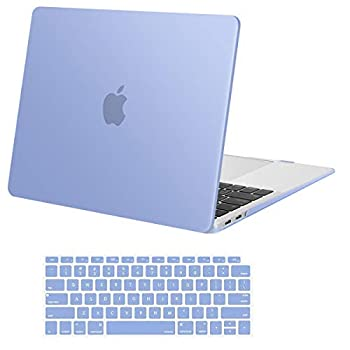 MOSISO Compatible with MacBook Air 13 inch Case 2020 2019 2018 Release A2337 M1 A2179 A1932 Retina Display with Touch ID Protective Plastic Hard Shell Case & Keyboard Cover Skin Serenity Blue