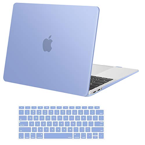 MOSISO Compatible with MacBook Air 13 inch Case 2020 2019 2018 Release A2337 M1 A2179 A1932 Retina Display with Touch ID, Protective Plastic Hard Shell Case & Keyboard Cover Skin, Serenity Blue