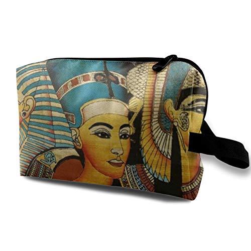 Bolsa de almacenamiento de lona de maquillaje de viaje, bolso de aseo portátil, pequeño organizador de cosméticos para niñas, mujeres y hombres, pergamino egipcio antiguo