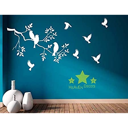 Heaven Decors Vinyl Flowers, Birds Wall Sticker Standard, White