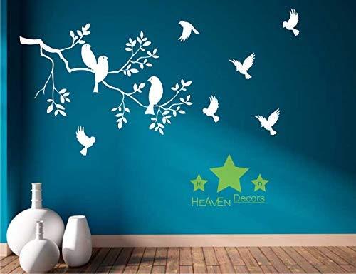 Heaven Decors Bird on Tree Matte Finish Wall Sticker, 35.82 x 0.39 x 23.22 Inches, White