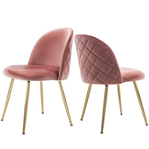 Velvet Pink Living Room Chairs, Vanity Chairs Accent Upholstered Makeup Chairs with Gold Plating Metal Legs for Bedroom/Occasional/Desk/Vanity/Patio, Set of 2 (Soft Pink)