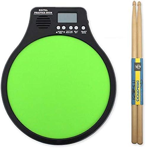 LINGLING-Trommel Percussion Drum Dumb Drum Metronom 12-Zoll-Dumb Drum Pad Drum-Metronom DREI-in-einem-Funktionsinstrument (Farbe   Grün)