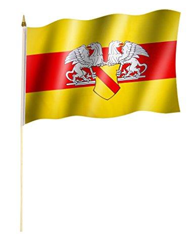 Stockflagge/Stockfahne BADEN mit Wappen Flagge/Fahne ca. 30 x 45 cm mit ca. 60cm Stab/Stock