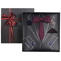 ネクタイ 結婚式 業務用桑絹ネクタイ、 パーティー用蝶ネクタイカフスボタンギフトボックス、 贈り物 (Color : ワインレッド, Size : 145*7cm)