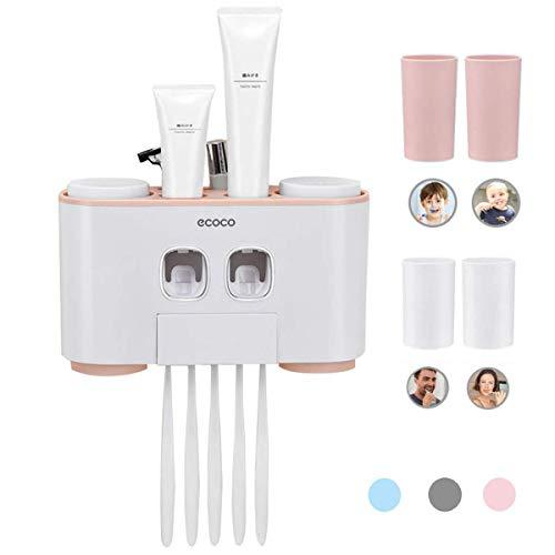 accesorios de ba/ño manos libres 2 Exprimidores de pasta de dientes 5 set de cepillos de dientes 4 g/árgaras Dispensador autom/ático de pasta de dientes y cepillo de dientes con montaje en la pared