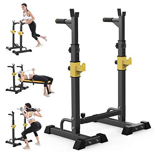 HT&PJ Soporte multifunción para pesas de altura y ancho ajustable, adecuado para entrenamiento con pesas y gimnasio en casa, color negro