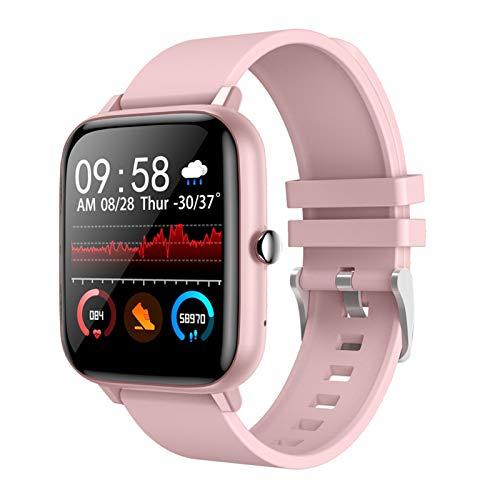 Reloj inteligente Bluetooth llamada hombres reloj inteligente soporte DIY reloj deportivo cara fitness Tracker mujeres smartwatch para iOS Android (color rosa