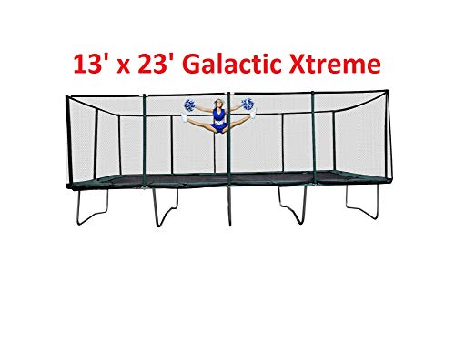 Happy Trampoline - Galactic Xtreme Gymnastic Rectangle Trampoline with Net Enclosure - High Performance & Safety Features Commercial Grade, Life-time warranty, 550 lbs Jumping Capacity