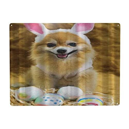 CIKYOWAY Letrero de metal para decoracin de Pomerania con disfraz de conejo y huevos de Pascua, letrero de chapa para pared, pintura de hierro, decoracin de pared, arte, placas retro, cartel, placa