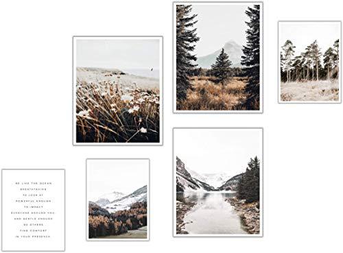 ELAFI® Juego de 6 pósteres prémium   Decoración elegante con imágenes a juego como decoración para el salón   2 x DIN A3 y 4 x DIN A4 sin marco   Hojas impresas (Alpine View)
