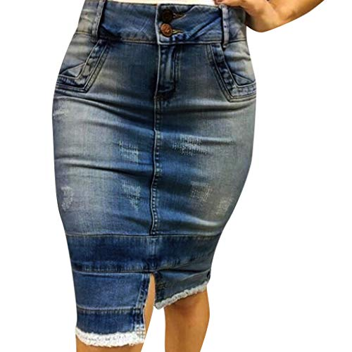 Deloito Damen Mode Hohe Taille Denim Minirock Gewaschen Getäfelten Destroyed Bodycon Kurzer Röcke Mädchen Freizeit Streetstyle Splice Jeansrock (Blau,X-Large)