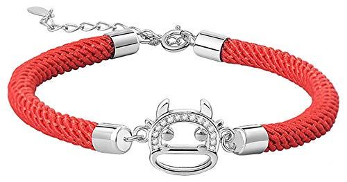 AnimeFiG Lucky Charm Bracelet 2021 Año del OX S925 ST925 Silver Hollow Chinese Cabeza de Buey Zircón con Incrustaciones Zircón Red String Pulsera Ajustable Amuleto Ajuste del Mal, Plata