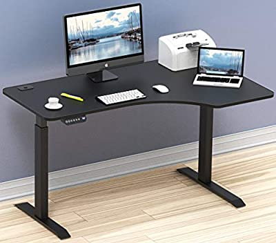 SHW 55-Inch Large Electric Height Adjustable Computer L-Shaped Desk, Black
