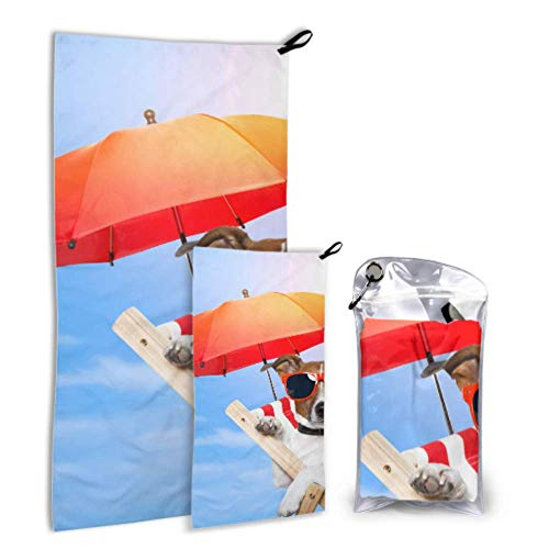 N\A Sunglass Cool Dog Animal 2 Pack Microfiber Beach Travel Towel Drying Towel Set Drying Best Best for Gym Travel Backpacking Yoga Fitnes