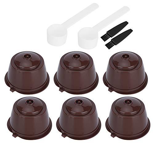 NCONCO 2 juegos de cápsulas de café con filtro de cápsulas reutilizables y recargables, con cepillo de cuchara para máquinas de café Dolce Gusto