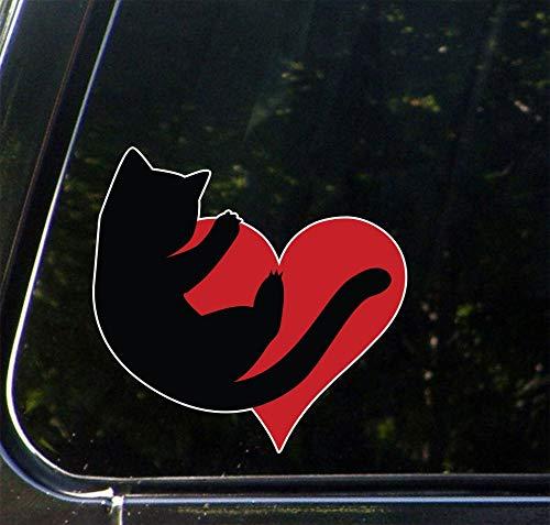 Wall Art CLR: CAR - Kat knuffelen hart - Vinyl Decal voor auto's | Vrachtwagens | Outdoor gebruik o. Eenvoudig aan te brengen.