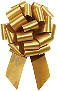 Holiday Gold Pull String Bows - 8 Inch Wide 20 Loops Large (2 and 1/2 Inch Ribbon) Set of 10 by A1 Bakey Supplies
