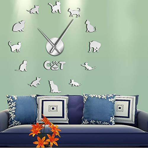 RRBOI Drôle Mau Cat Graphique 3D DIY Horloge Murale Chaton Race Animal Miroir Surface Acrylique Horloge Montre Pet Shop Décoration Murale-27inch(Argent)