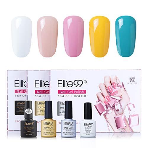 Elite99 klassieke kleuren UV nagellak 5 kleuren met toplaag en onderlaag, base en top coat gel nagellak UV LED, mes set voor nagel ontwerp gel lak, nail art set 002