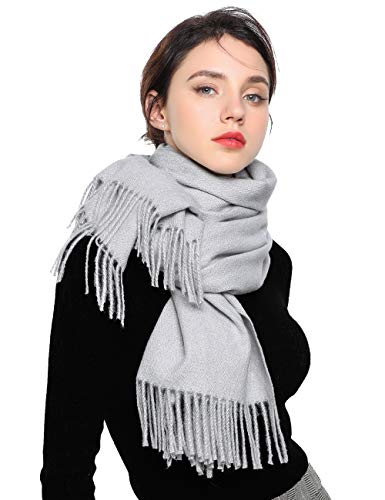 EASE LEAP Sciarpa Morbida da Donna Elegante Pashmina Calda Grande Stole Foulard Invernale da Tinta Unita 200 * 70cm / (Grigio chiaro)