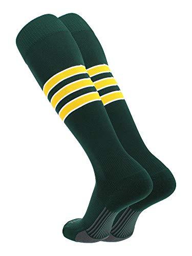 TCK Performance Baseball/Softball Socks (Dark Green/White/Gold, Medium)