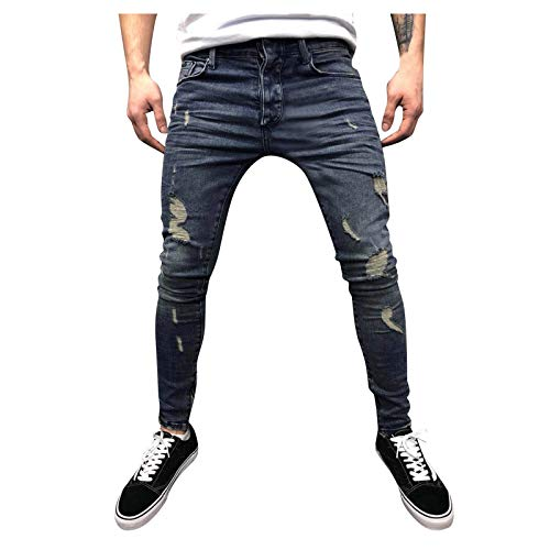 BIBOKAOKE Jeans da uomo in denim Destroyed Denim, traspiranti, sottili e screpolati, stile hip hop streetwear, pantaloni lunghi in denim Marine3 XL