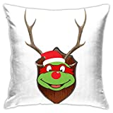 109 TMNT Raphael Christmas Antler Head Pillowcase, Double-Sided Printing, Hidden Zip Pillowcase, Beautiful Printed Pattern Pillowcase 18inch18inch